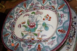 A Victorian floral transfer decorated tree and well meat carving dish, 50 x 40cm; together with four