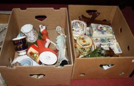 Two boxes of miscellaneous items to include a Masons Ironstone butter dish and cover in the