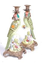 A pair of 20th century continental table candlesticks, in the Rococo taste, with brass mounts,