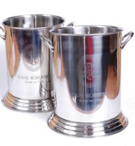 A pair of reproduction plated wine coolers, each inscribed Louis Roederer, h.24cm