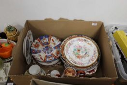 A box containing a collection of various ceramics, to include a Japanese Kutani teapot, Arita plate,