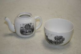 A Continental porcelain miniature teapot, transfer printed with a scene from the Dunmow Flitch,