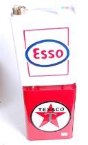 A reproduction Texaco advertising petrol can, h.34cm; together with a similar ESSO example (2)