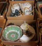 Two boxes containing a collection of ceramics, to include a Chinese Republic period porcelain bowl