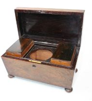 A Regency Goncalo Alves? and rosewood tea caddy, of casket form, the lid lifting to reveal the