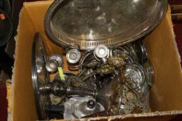 A box of miscellaneous metalware to include Mappin & Webb plated teapot, candlesticks, gallery