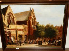 Jan Beekhout, (Dutch, b. 1937) - Oude Kerk street market, oil on board, signed lower right, 49x64cm