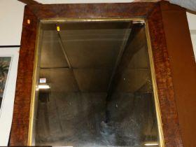 A Victorian burr oak framed rectangular wall mirror, 93x81cm