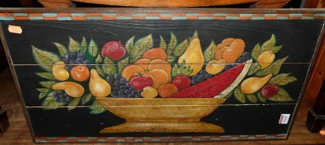 Contemporary school - still life with fruit in a wooden bowl, oil on pine boards, 34x64cm