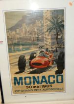 A reproduction poster print for the Monaco Grand Prix 1965, 60x40cm