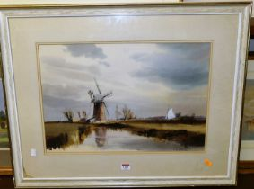 Leslie Lancelot Hardy Moor (1907-1997) - Norfolk Broads, watercolour, heightened with white,
