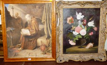 Assorted pictures and prints to include still life, oil on panel, contemporary portrait oil on