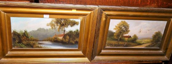 Early 20th century school, pair river landscapes, oil on card, indistinctly signed, 24x44cm