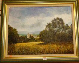 Robert J Gould - Doune Castle, Scotland, oil on canvas, signed lower right, 44x60cm