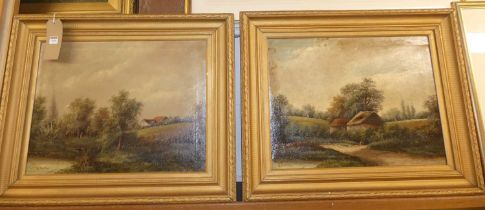 R Percy - Pair; Landscape scenes, oil on canvas, each signed lower left, 37 x 50cm