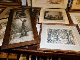 Assorted pictures and prints to include commemorative engraving, topographical views, etc (7)