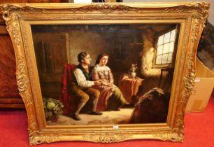 Follower of Erskine Nichol (1825-1904) - The Proposal, oil on canvas, bears monogram lower left,