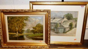 David Mead - river landscape, oil on canvas, signed lower left, signed 24x34cm, DM Jackson - Stone