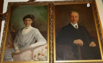 Early 20th century English school, pair half length portraits, oil on canvas, 75x50cmCondition