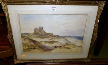John Wilson Carmichael (1800-1868) - Bamburgh Castle, watercolour, signed and titled lower left,