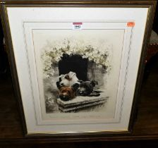 Curt Meyer-Eberhardt (German, 1895-1977) - three terriers, coloured engraving, signed in pencil to
