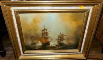 Anthony Hedges - Seascape with clipper ship on fire, oil on canvas, signed lower right, 30x40cm