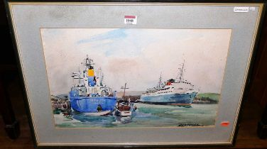 Leslie Thomas Channing (b.1916) - Newhaven harbour, watercolour, signed lower right, 32x50cm