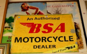 A reproduction printed tin advertising sign for BSA motorcycles 48x70cm, and two others (3)