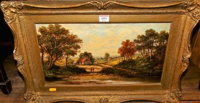 G Cook (19th century Norwich school) - landscape scene with figures before a river, oil on canvas,