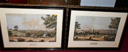 A set of four reproduction colour engravings being topographical views of Ipswich from Crane Hill