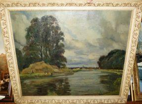 Donald Henry Floyd (1892-1965) - river scene in summer, oil on canvas, signed lower left, 50x60cm