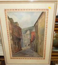 CT Page - street scene, watercolour, and George Hansen - Dutch canal, watercolour (2)