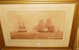 William Joy (1803-1867) - Naval ships on the calm, sepia watercolour with traces of body colour,