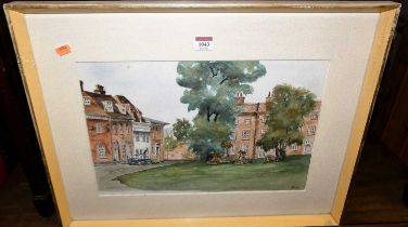 Joan Knight - St Mary's Square, Bury St Edmunds, watercolour, signed lower right, 28x43cm