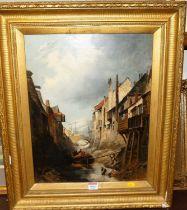 19th century Dutch school, harbour scene, oil on canvas, 46x37cm