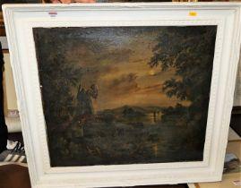 Follower of Sebastian Pether - moonlit river landscape, oil on canvas, 55x63cm