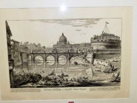 After Giovanni Battista Piranesi (1720-1778) - Veduta del Ponte e Castello Sant'Angelo, monochrome