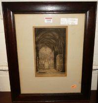 Robert Farren - Ely Cathedral, engraving, 22x13.5cm