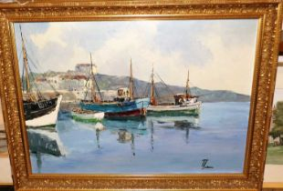 Bernhard Laarhoven (Dutch, b. 1912) - Boats in harbour, oil on canvas, signed lower right, 50x70cm
