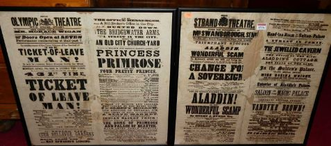 The Strand Theatre advertising poster print from Monday April 8th 1861, 50x50cm, in modern glazed
