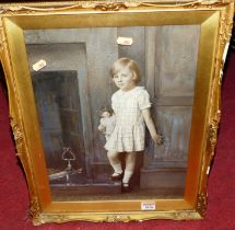 Frank Brown - child portrait overpainted print, 40x30cm, and one other again by the artist, and W