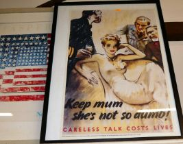 """Reproduction WWII propaganda print """"Careless Talk Costs Lives"""", 74x51cm, and one other for the New"""