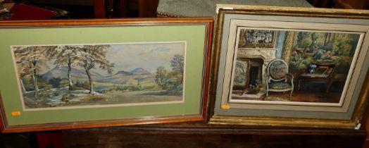 19th century school - The Drawing Room, watercolour, 27x37cm, together with landscape watercolour,