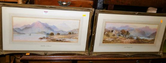 Mid Victorian British school - Loch Etive, Scotland, and near Doloelly? Wales - pair watercolours,