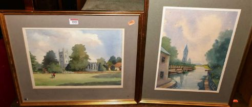 Angela Stones - Dedham Church, Suffolk, watercolour, signed lower left, 26x36cm, and one other by