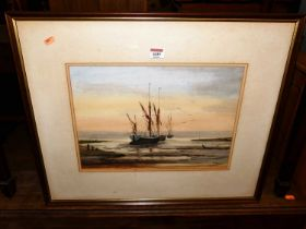 P Urquhart - sailing boats at low tide, watercolour, signed lower right, 30x41cm