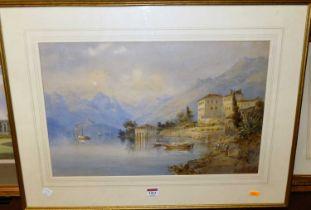 Late 19th century school - an Alpine lake in summer, watercolour, 34x52cm