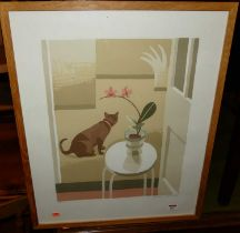 Debbie Urquhart (b. 1972) - still life with cat, lithograph, signed and numbered in pencil to the