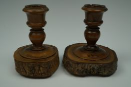 A pair of early 20th Century Jerusalem turned olive wood candlesticks, 7.5 cm