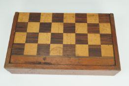 A late 19th / early 20th Century parquetry folding chess and backgammon board / box, 46 cm x 27 cm x